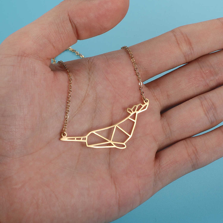 100% prawdziwe ze stali nierdzewnej pusta Narwhal naszyjnik włochy projekt niesamowity Design mody zwierząt wisiorek naszyjniki