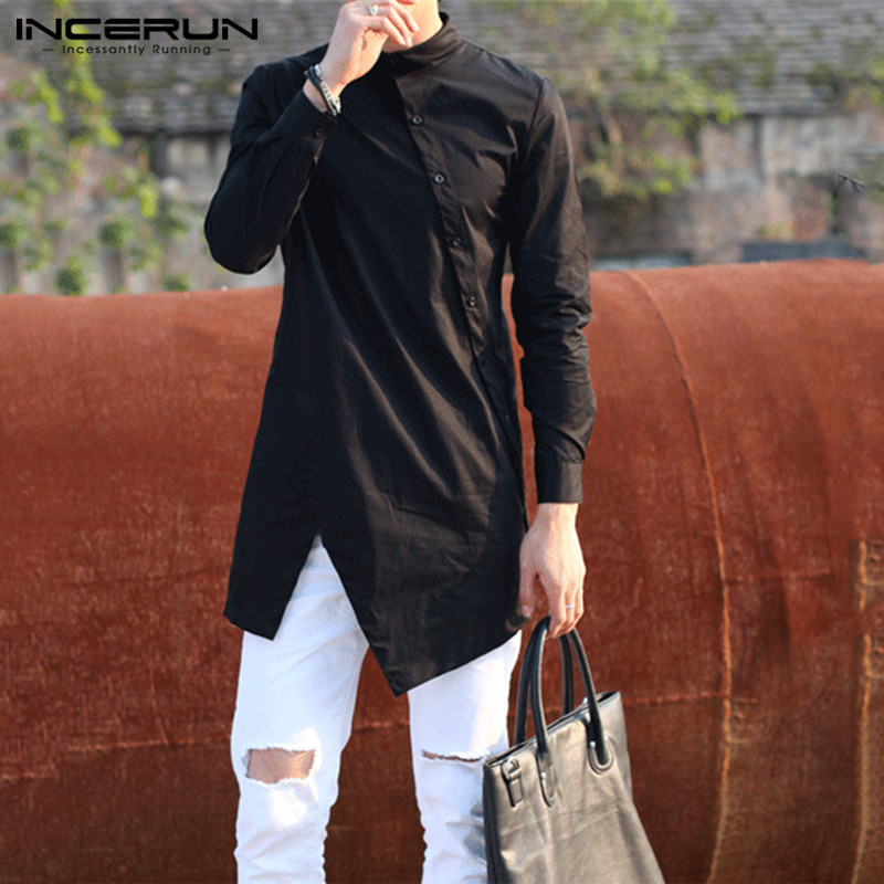 INCERUN 2020 Men Irregular Shirts Lapel Button Long Sleeve Chic Solid Color Camisa Fashion Dress Shirts Slim Long Tops Plus Size