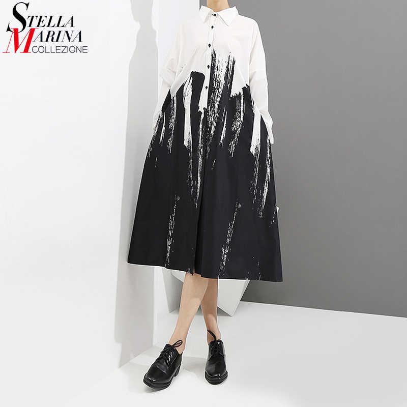2020 Dài Tay Người Phụ Nữ Thu Đông In Trắng Đen Áo Đầm Phối Nhuộm Màu Phong Cách Hội Họa Plus Kích Thước Midi Nữ đầm Suông 3400