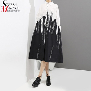 2020 Long Sleeve Woman Autumn Black And White Print Shirt Dress Tie-Dyed Painting Style Plus Size Midi Ladies Casual Dress 3400(China)