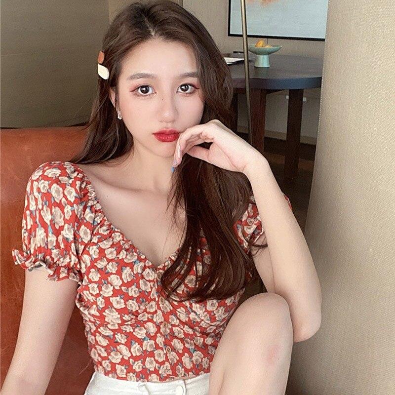 Women Fashion Summer Blouses Short Tops Tees Small Floral Print V-Neck Shirts Sexy Sweet Short Sleeve Chiffon Shirt Hot Sale 6