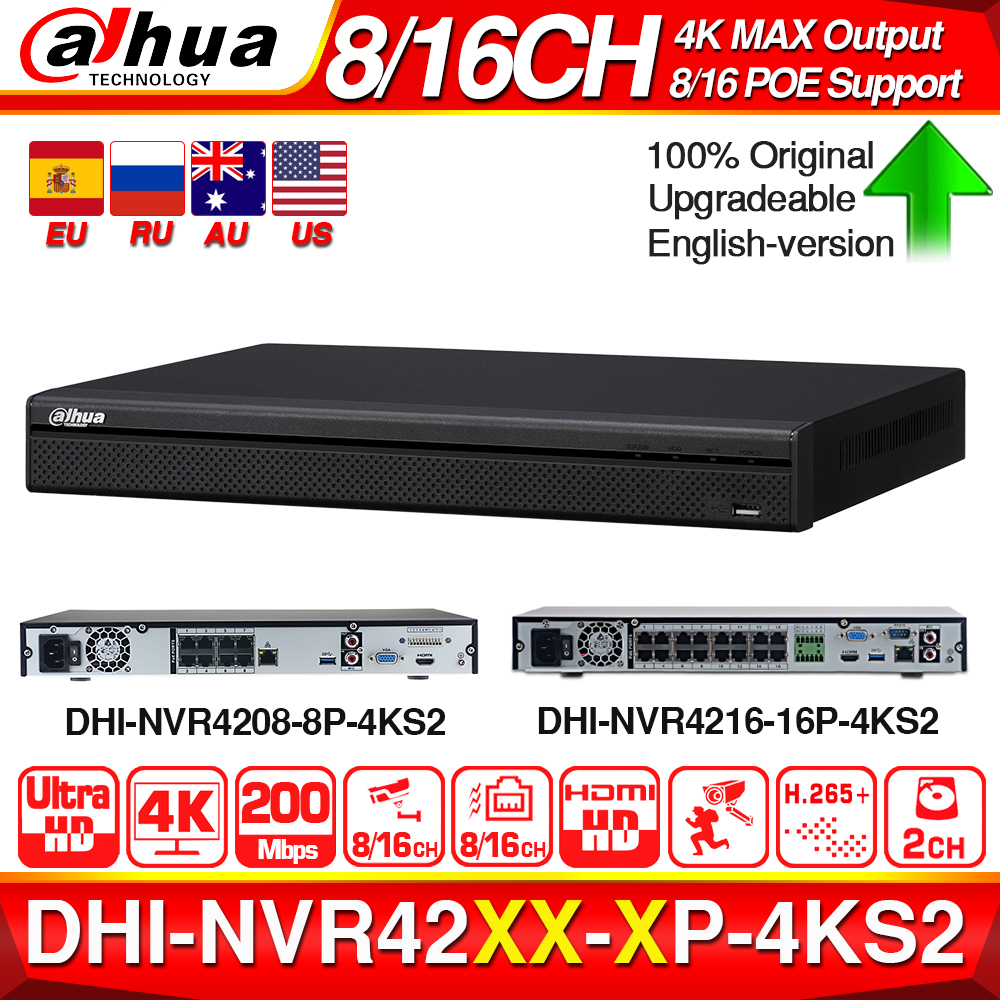 Dahua 4K NVR NVR4208-8P-4KS2 NVR4216-16P-4KS2 With PoE Port Support 4K POE H.265 2 SATA For Profession IP Camera Security System