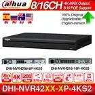 Dahua NVR4208 8P 4KS2 4K NVR NVR4216 16P 4KS2 con soporte de puerto de PoE 4K POE H.265 2 SATA para el sistema de seguridad de la cámara IP profesional