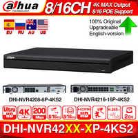 Dahua NVR4208-8P-4KS2 4K NVR NVR4216-16P-4KS2 con soporte de puerto de PoE 4K POE H.265 2 SATA para el sistema de seguridad de la cámara IP profesional