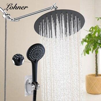 Black Shower Bathroom Rain Waterfall Shower Faucets Set Concealed Chrome Shower System Bathtub Shower Mixer Faucet Tap