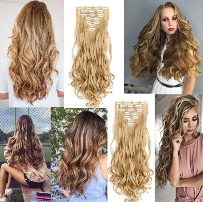 XINRAN 16clips Hairpiece Body Wave Synthetic Hair Extensions Clips in High Temperature Fiber Black Brown Women Hair Extensions