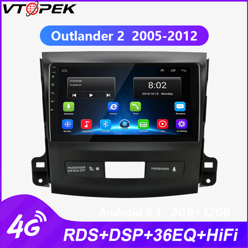 Vtotpek 9 inch Android Car Stereo <font><b>2</b></font> <font><b>din</b></font> Radio for <font><b>Mitsubishi</b></font> <font><b>Outlander</b></font> <font><b>2</b></font> 2005-2012 subwoofer 4G Net WIFI Touch Screen RDS DSP image