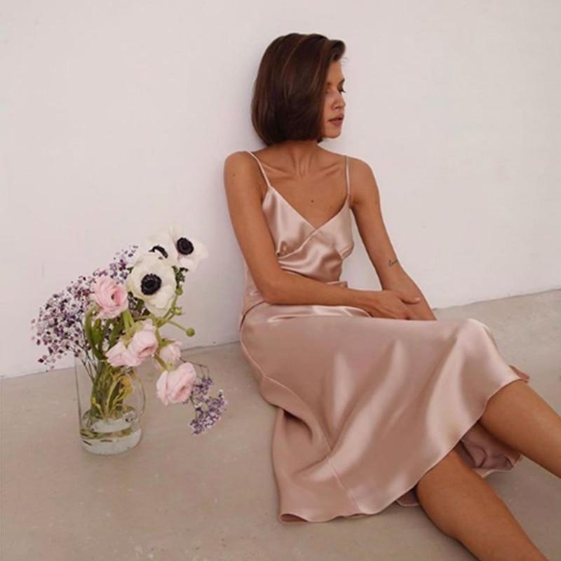 2020 Women Satin Deep V Neck Sexy Dress Solid Straight Pajamas Party Dress Elegant Female Summer Spaghetti Strap Dress Casual 1