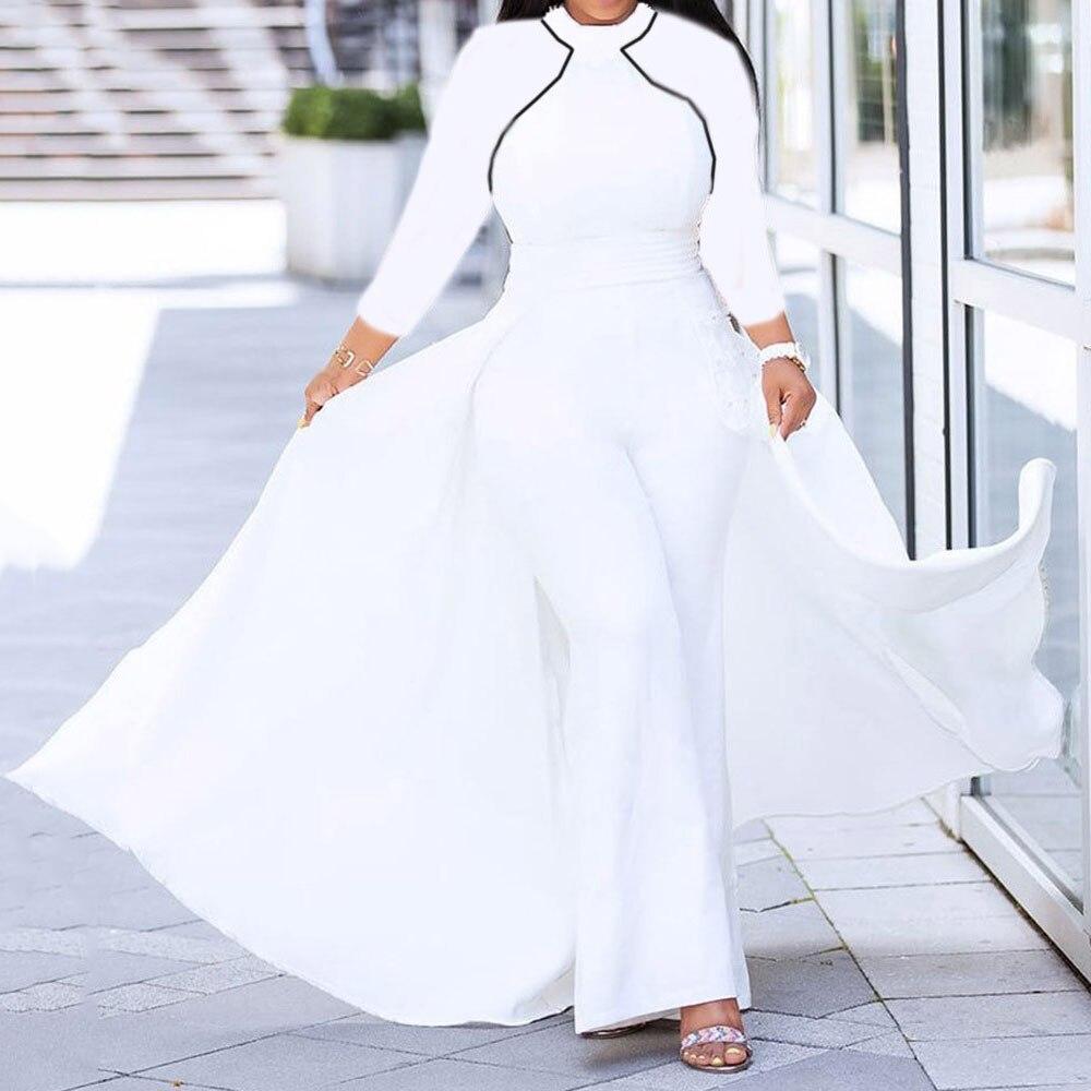 Spring White Jumpsuit Women Autumn African Fashion Wide Leg Pants Romper Plus Size Office Ladies Long Sleeve Evening Dresses