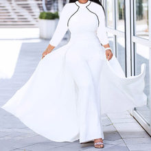 Spring White Jumpsuit Women Autumn African Fashion Wide Leg Pants Romper Plus Size Office Ladies Long Sleeve Evening Dresses(China)