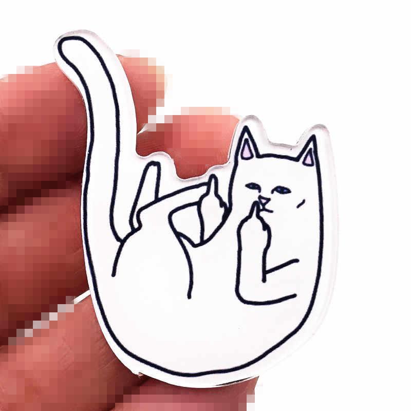 1 Pcs Jari Tengah Lucu Kucing Akrilik Lencana Kerah Pin Lencana Bros Ransel Topi Diy Pakaian Pria Aksesoris Anak-anak Hadiah
