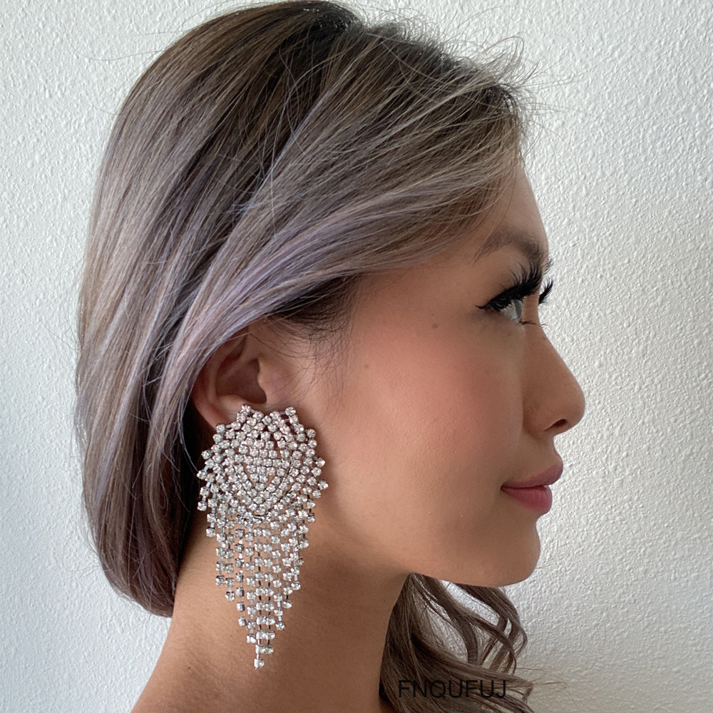 Big Rhinestones Earrings For Women 2020 Fashion Statement Crystal Large Dangle Earing Femme Evening Party Wedding Jewelry Gift