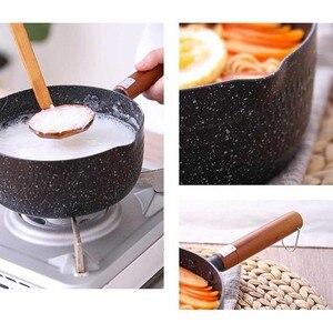 Image 4 - 4 Sizes Soup Pot Nonstick Saucepan Granite Coating Sauce Pan with Wooden Handle Straining  Aluminum Milk Pan Cookware