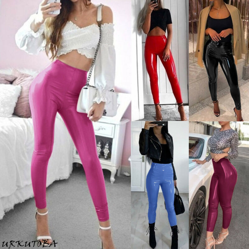 2020 Womens Sexy High Waist Pants Solid Slim Soft Strethcy Shiny Wet Look Faux Leather Ladies Female PVC Trouser Pants Hot Sale
