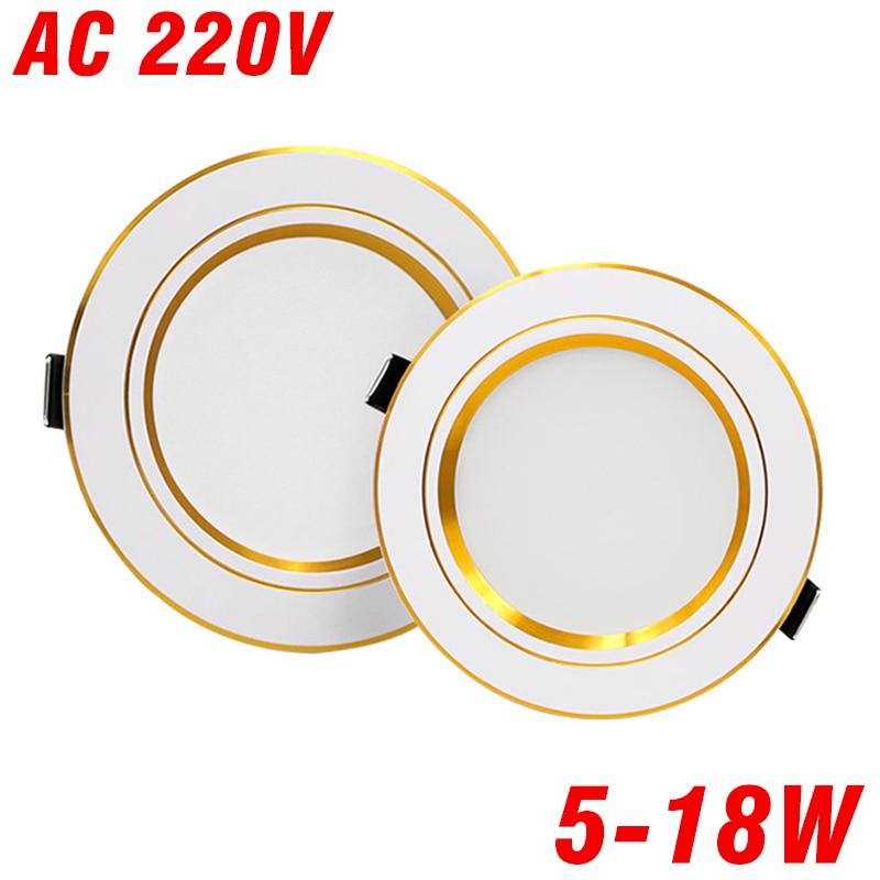 LED Downlight AC 220V 230V 240V Living Room Ceiling Light 5W 9W 12W 15W 18W Gold Body Led Spotlight For Bedroom Room