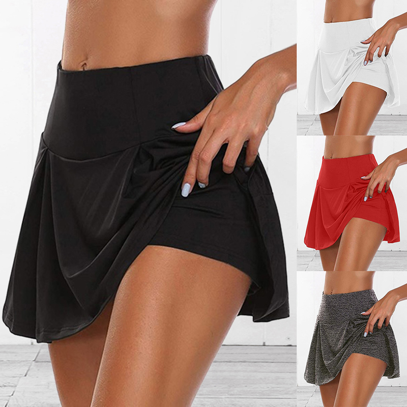 Saia alta de cintura alta feminina, plissada, vestido curto para corrida, badminton, vôlei, praia, dança, segurança, 2020