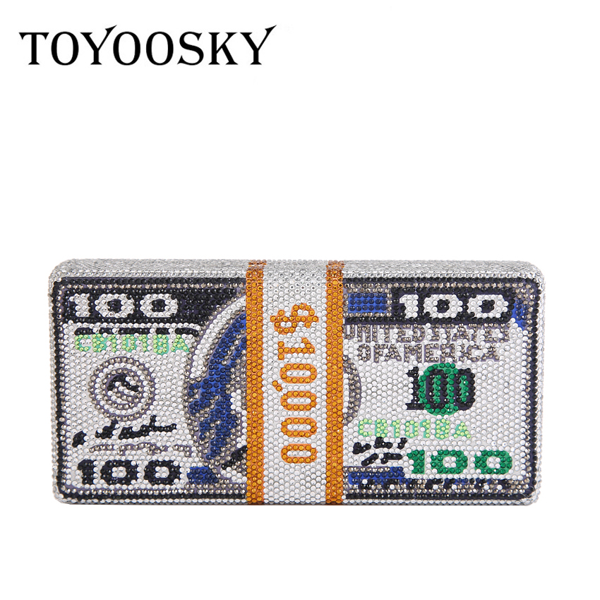 TOYOOSKY Hot-Fixed Crystals Women $100 Dollars Money Evening Clutch Bags Dollars Diamond Wedding Dinner Purses and Handbag