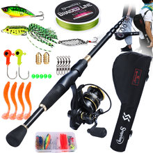 Удочка рыболовная с телескопической удочкой и катушкой для спиннинга