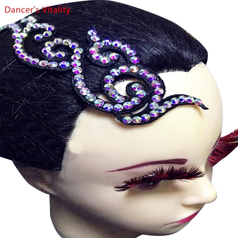 2018 New Dancing Headwear Costume Ballroom Latin Dance Headdress Waltz Tango Foxtrot  Headwear Imitation Austrian Drill