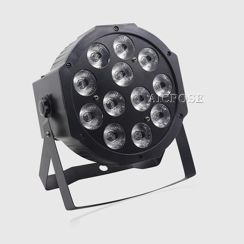 Купить с кэшбэком 10units  12*12w led lamp beads 12x12W led Par lights RGBW 4in1 flat par led dmx512 disco lights professional stage dj equipment
