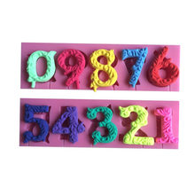 Alphabet Number 0-9 3D Silicone Cake Mold Shape Lollipop with Hole Fondant Decorating Tool