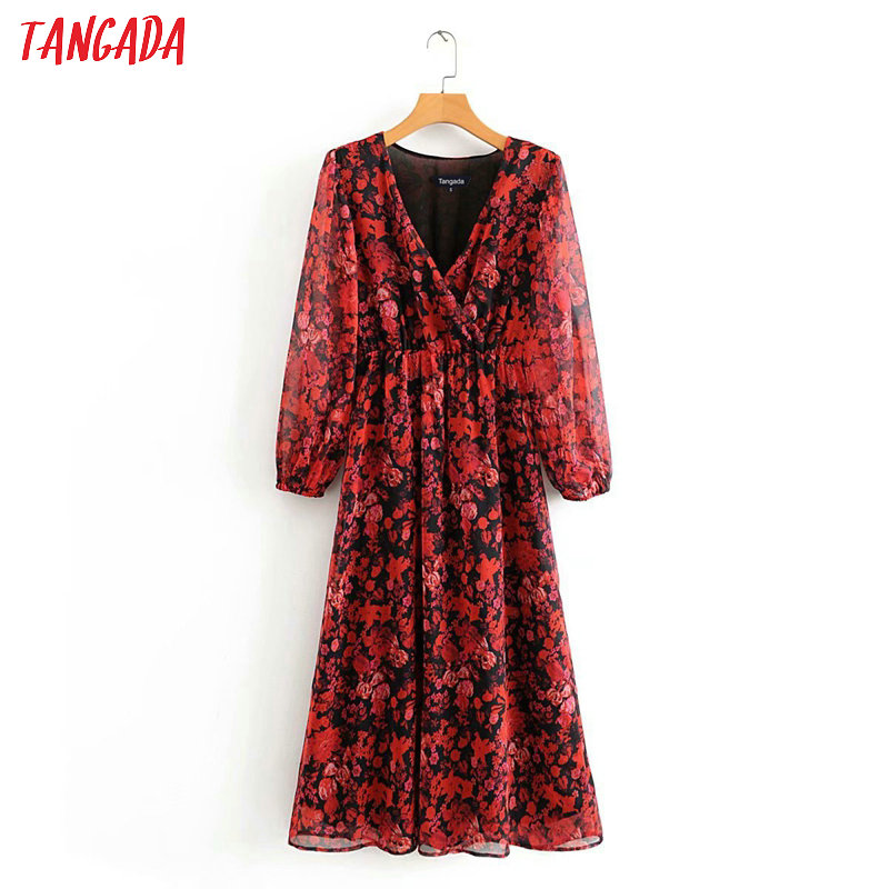 Tangada Fashion Women Red Floral Print Chiffon Midi Dress V Neck Long Sleeve Ladies Vintage Elegant Dress Vestidos 3A24
