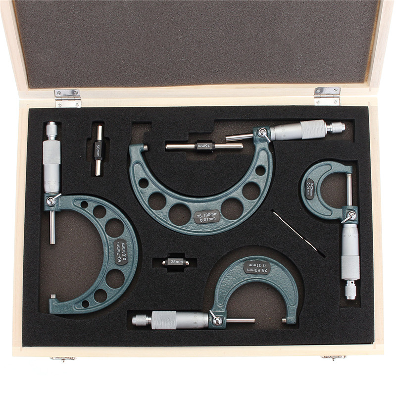 4pcs Outside Micrometer Set Machinist Tool 0-4inch 0-100mm 4 Precision 0 01mm Accuracy Carbide Micrometer Set