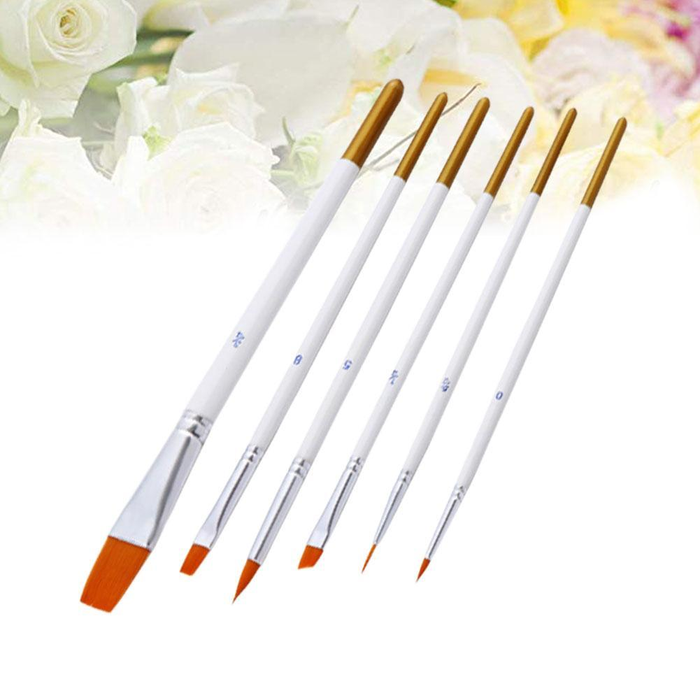6 Pcs Artists Paint Brush Set Acrylic Watercolor Round Pen Nylon Hook Tip Pointed Short Pointed Multifunction Line Hair N3W4