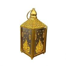 2021 Ramadan LED Light Tower Mosque Lantern Eid Mubarak Festival Warm Light Lamp Decoration Iron Crafts Desktop Eid Decoration#G