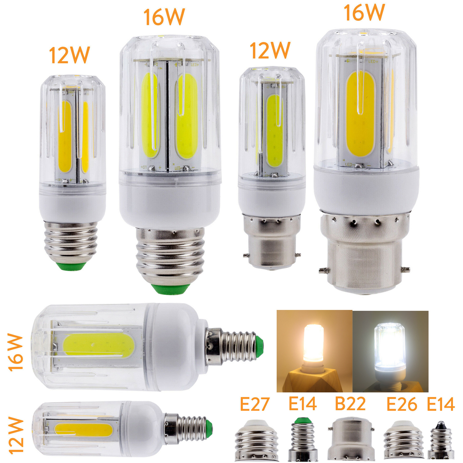 12W 16W LED COB Corn Light Bulbs Super Bright E26 E27 B22 E14 Screw / Bayonet Base Lamps AC 85-265V 110V 220V For Home Office