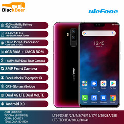Ulefone T2 T 2 смартфон с 6,7-дюймовым дисплеем, восьмиядерным процессором Helio P70, ОЗУ 6 ГБ, ПЗУ 128 ГБ, Android 9,0, 4G LTE