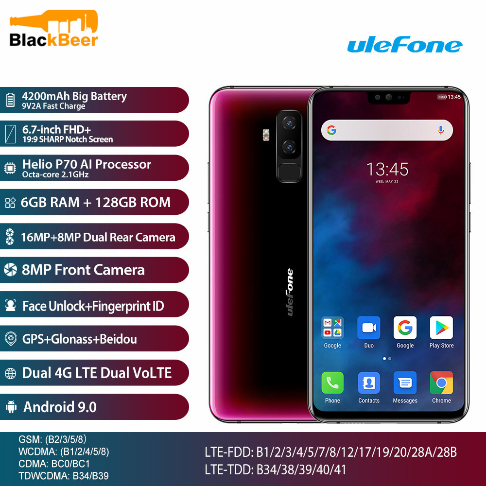 Ulefone T2 T 2 6.7'' FHD+ Smartphone Helio P70 Octa Core Cellphone 6GB+128GB Android 9.0 Mobile Phone 4200mhA NFC Dual 4G LTE