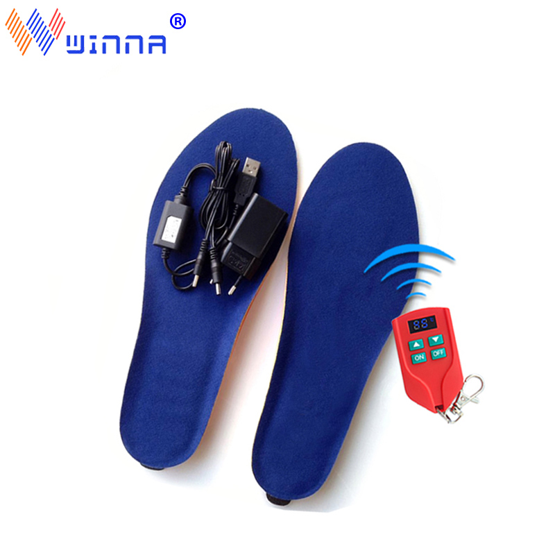 2000mAh Electric Heating Insoles USB Charging Wireless Remote Rontrol Heating Insole Ski camping FishingThermal Heating Insoles
