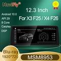 NaviFly синий антибликовый экран Android 10,0 Carplay + Автомобильный мультимедийный плеер для BWM X3 F25 / X4 F26 CIC NBT система