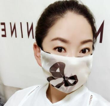 Women's spring summer flower print thin natural silk mask female sunscreen driving dust protection mouth-muffle R1060 2