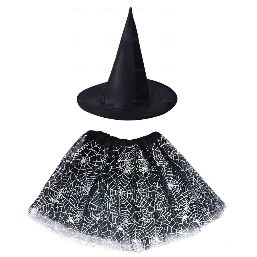 Kids Girl Spider Web Tutu Cobweb Skirt Witch Wizard Costume Hat Tulle Carnival Birthday Party Outfit Carnival Halloween Costume 1