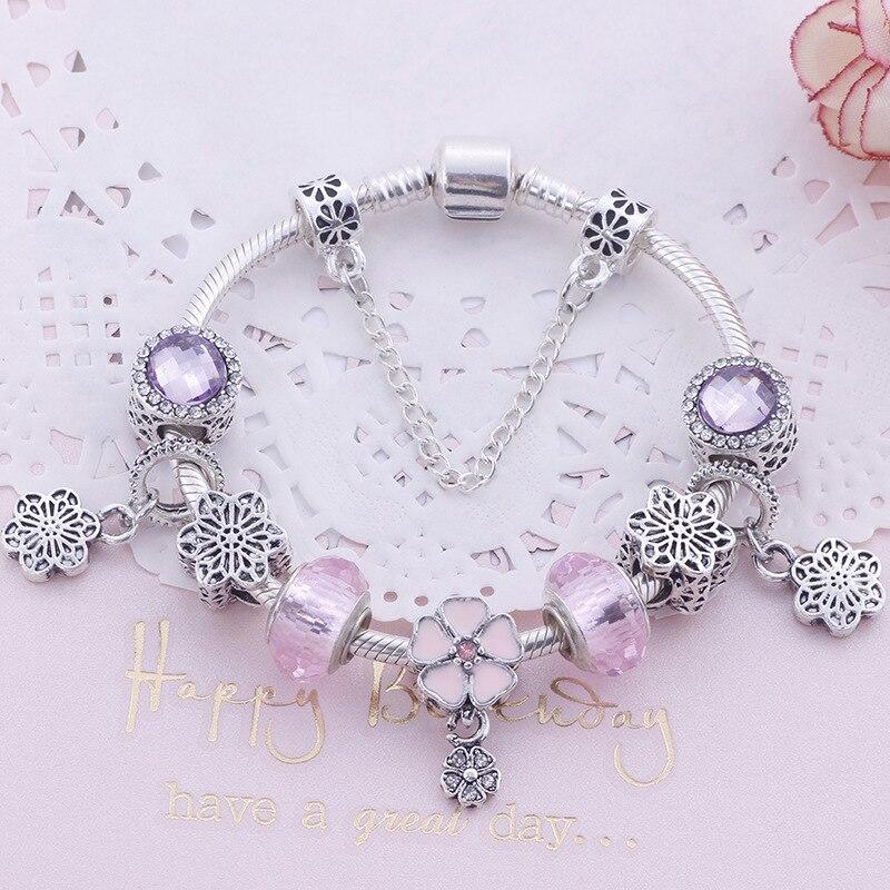 Bracelet en cristal rose délicat à la mode envoyer des bijoux de saint-valentin petite amie