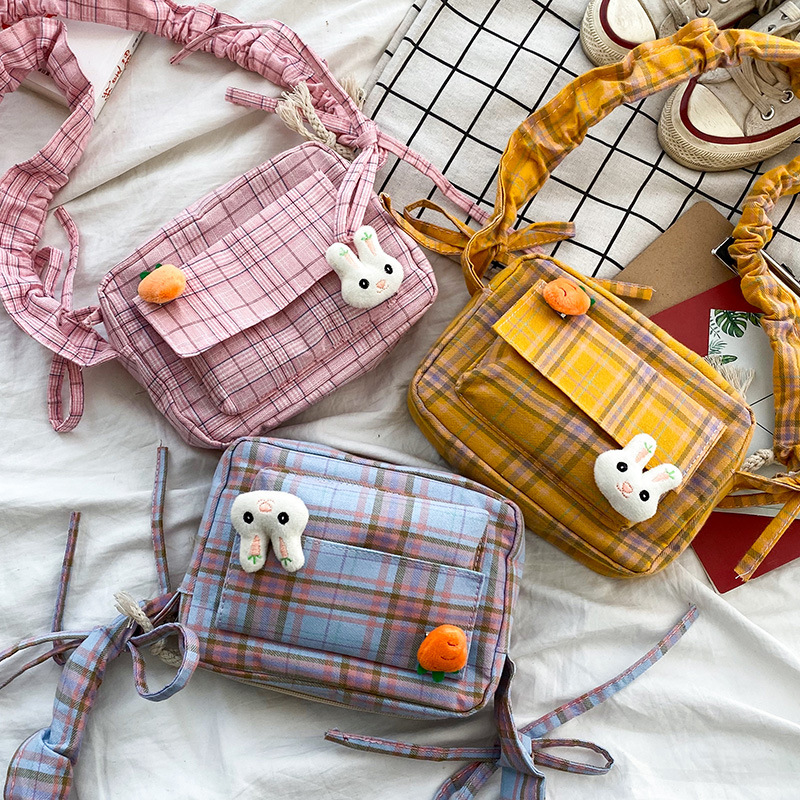 Cute Girl Soft Shoulder Bag Preppy Girl Lattice Crossbody Bag Student Canvas Shoulder Bags Cartoon Rabbit Bag Japanese INS Style