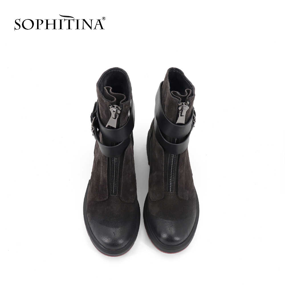 SOPHITINA şık el yapımı bayanlar çizmeler rahat katı Slip-On Med topuk ayakkabı Metal seksi sivri burun dekorasyon kadın botları SC258