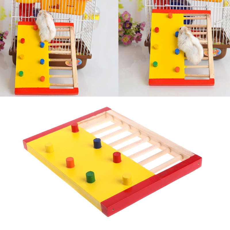 Pet Rat Hamsters Toys Natural Wooden Colorful Scaling Jumping Climbing Ladder Fun Play Toy