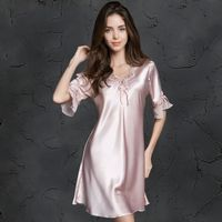Womens Silk Satin Pajamas Sleepwear Female Sleep Top Lounge Sleepwear Ice Silk Plus Size Women Nightdress nightgowns Clothes