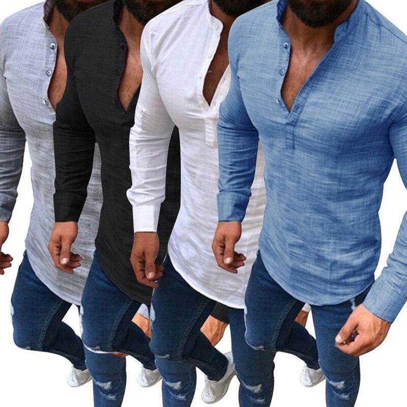 2019 sexy camisa masculina mangas compridas com decote em v blusa verão moda casual fino ajuste t topos masculino respirável camisas de linho