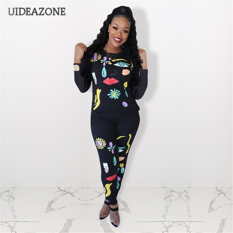 UIDEAZONE Print Women Two Piece Set O Neck Pullover Top Tshirts Full Length Pants Printed Ladies 2Pcs Sets Suits 2019 Autumn