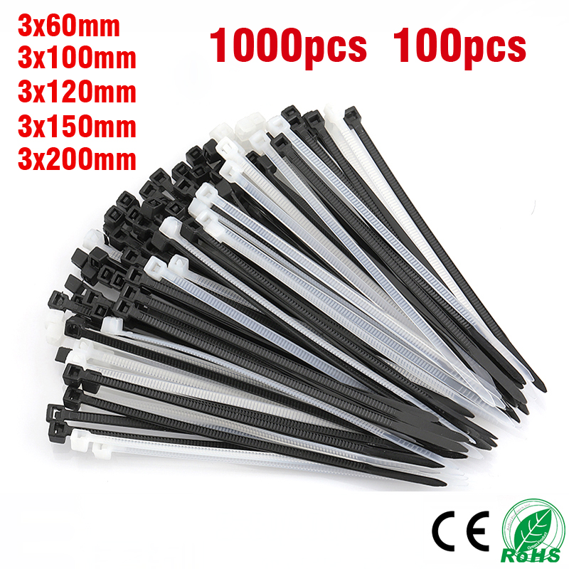 1000pcs100PCS Nylon Plastic Cable Tie Self Locking White Black Cable Wire Zip Ties3 * 60/80/100/120/150/200mmPA66