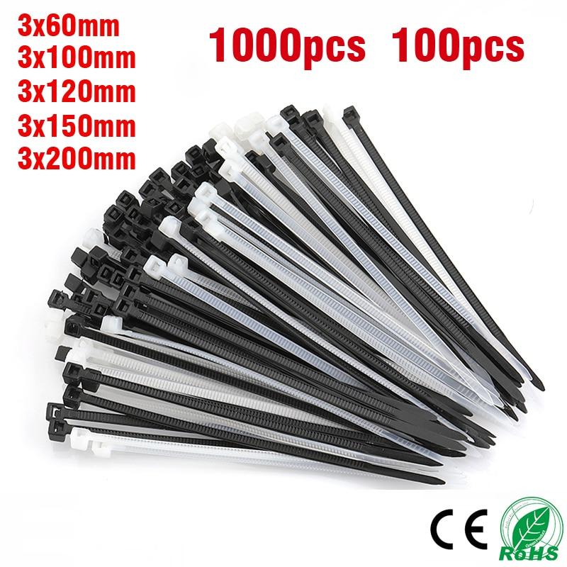 1000pcs100PCS Nylon Plastic Cable Tie Self Locking White Black Cable Wire Zip Ties3 * 60/80/100/120/150/200mmPA66
