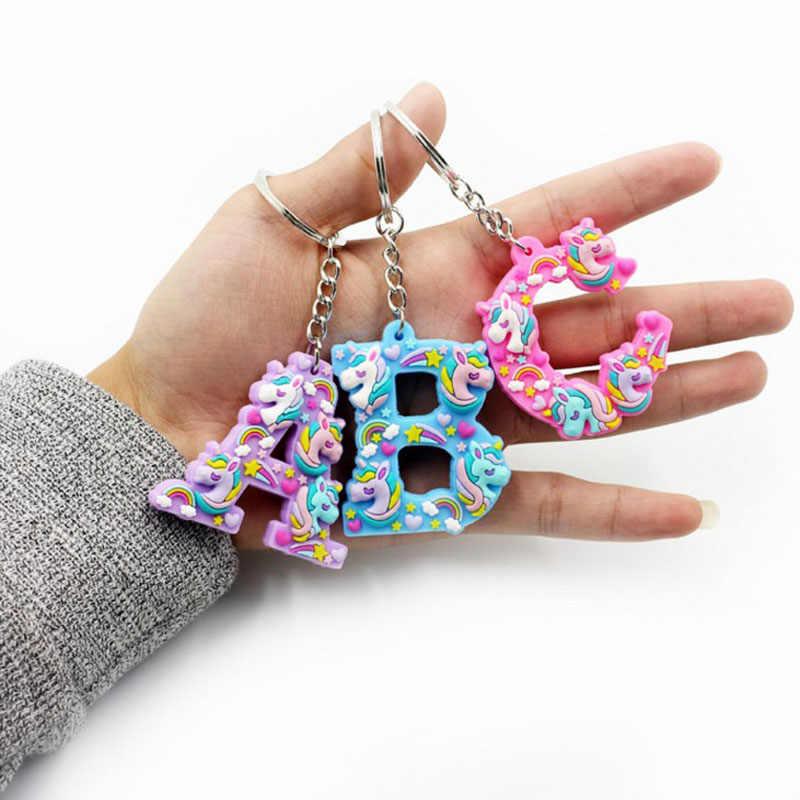 1 Pcs Kawaii Unicorn מכתבי מפתח שרשרת לילדה ילדים Keychain נשים מכונית מפתח טבעת מכתב מחזיק מסיבת טובות מתנה