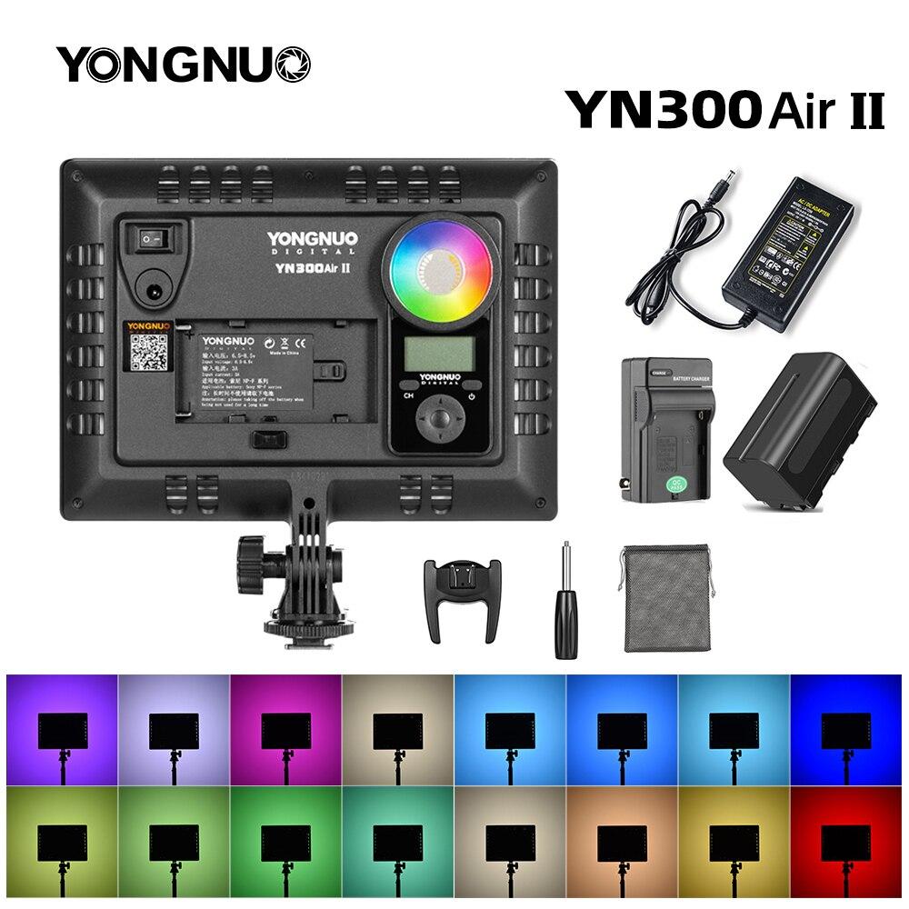 Светодиодная лампа YONGNUO YN300AIR II RGB для видеосъемки, дополнительный аккумулятор с зарядным устройством светильник для фотосъемки + адаптер пе...