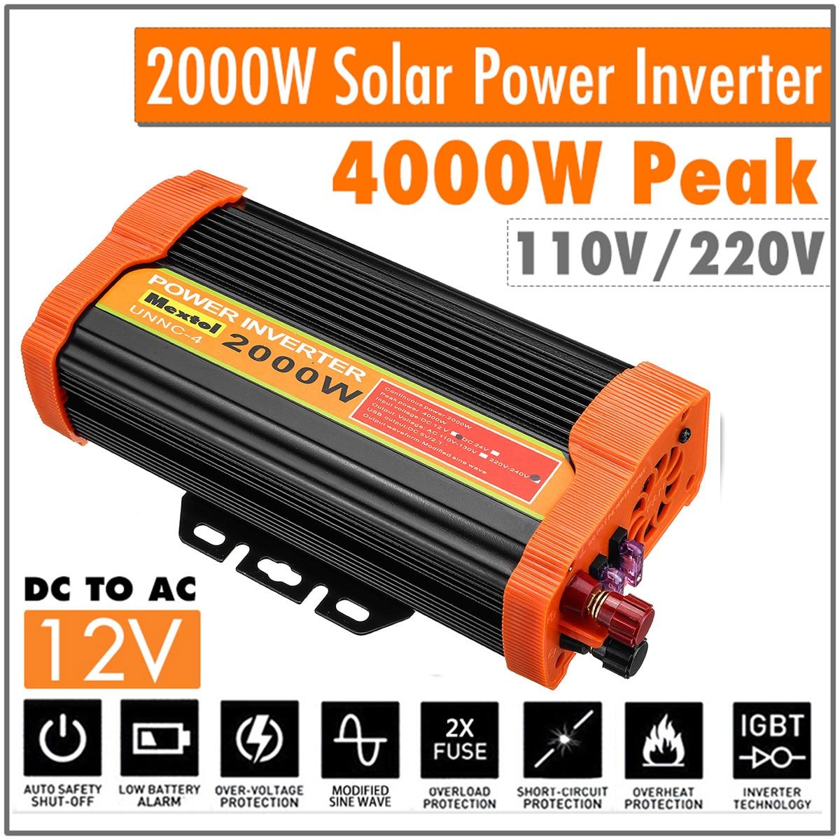 Макс 4000 Вт Инвертор 12В до 220В двойной USB автомобильный адаптер зарядный преобразователь модифицированный синусоидальный USB трансформатор 2000 Вт Инверторы для авто      АлиЭкспресс