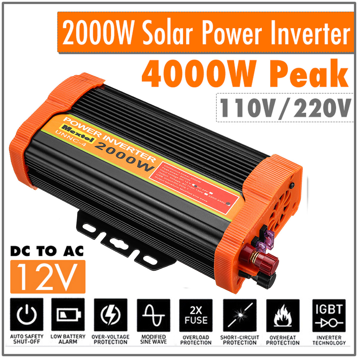 Max 4000 Watts Power Inverter 12 V to 220 Volt Dual USB Car Adapter Charge Converter Modified Sine Wave USB Transformer 2000W