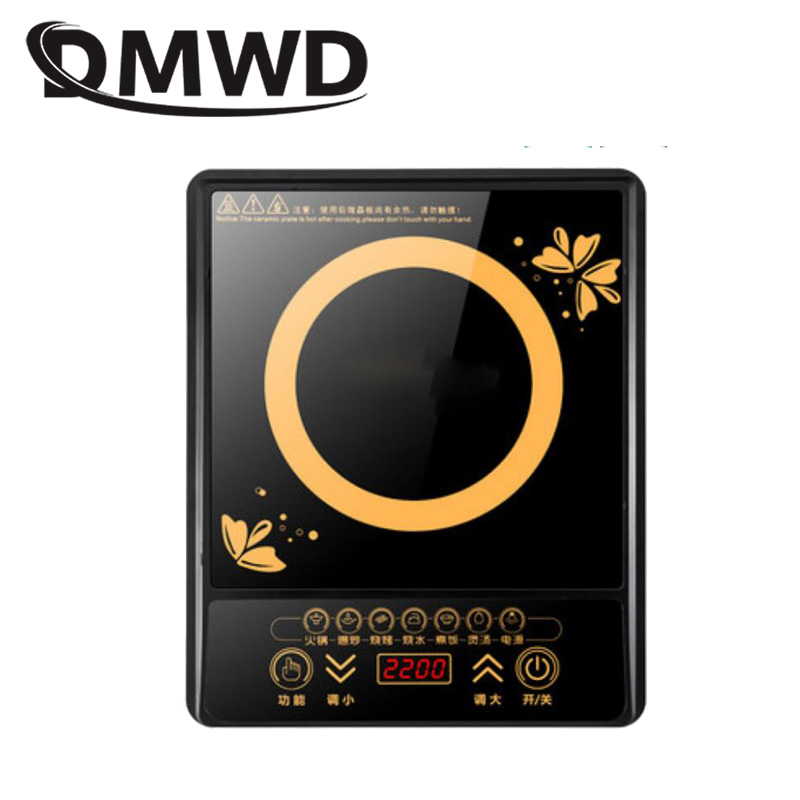 DMWD Electric Magnetic Induction Cooker Household Waterproof Small Hot Pot Heating Stove Touchpad Stir-fry Dish Cooking Oven EU